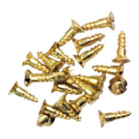 "Pack of 25.  No 2  X 3/8"" long, Slotted Countersunk Brass Woodscrews"